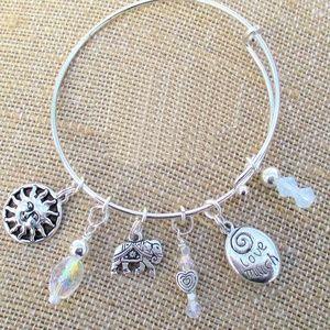 Elephant Charm Stackable Silver Bangle